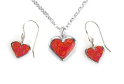 Silver Heart Jewellery Set - Love Charm Necklace and Dangle Earring Set - Birthday Gift for Girls