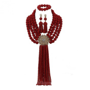 AfricanBeads 4-Row Red Nigerian Wedding Beads Necklaces Jewellery Sets African Costume Bridal Jewellery Sets