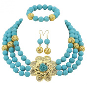 AfricanBeads 3-Row Women African Nigerian Wedding Turquoise Beads Jewellery Set,Bridal Party Necklace Set