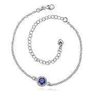 Silvered bracelet - Ars - Blue High-end fancy jewellery brass with silver plating 925 sterling silver ankle or wrist Low price gift for woman Jewellery