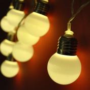JnDee™2.5M 8 Battery Powered White Festoon Bulb LED Fairy String Light Warm White UK Christmas Party