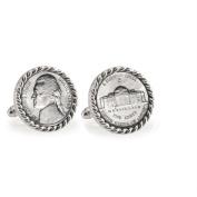 UPM Global LLC 12705 Silver Jefferson Nickel Wartime Nickel Silvertone Rope Bezel Cuff Links