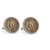 UPM Global LLC 12711 1859 First-Year-of-Issue Indian Head Penny Silvertone Rope Bezel Cuff Links
