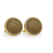 UPM Global LLC 12732 Civil War Indian Head Penny Goldtone Rope Bezel Cuff Links
