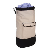 Household Essential 162 Backpack Duffel Laundry Bag Cream and black