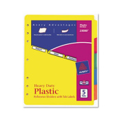 Avery 23080 Plastic Index Dividers White Self-Stick Labels 5-Tab Letter 1 Set