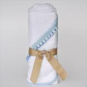 Little Ashkim BHTNBB Newborn Hooded Bamboo Turkish Towel - White With Blue Ribbon