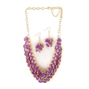 Breezy Couture Radiant Orchid Fish Scale Necklace And Jewellery Set
