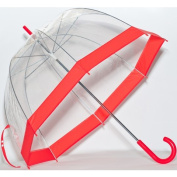 Elite Rain Frankford RB01-RD Clear Bubble Umbrella Red Trim