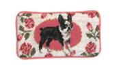 123 Creations C276EG-8.9cm x 18cm . A Boxton Terrier Petit-point Eyeglass Case