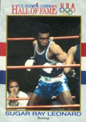 Autograph Warehouse 85052 Sugar Ray Leonard Hall Of Fame Olympic Card Boxing 1991 Impel No .29