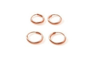 Two Pair Sterling Silver Rose Gold Plated Small Endless Hoop Earrings for Cartilage, Nose or Lips, 10mm 12mm
