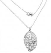 *UK* SILVER PLATED HOLLOW FILIGREE LEAF PENDANT NECKLACE LEAVES SPRING AUTUMN OPEN COSTUME JEWELLERY
