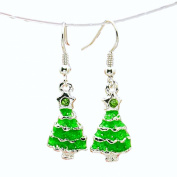Green Crystal Rhinestone Christmas Tree Drop Dangly Earrings in Gift Bag Womens Girls Silver Jewellery