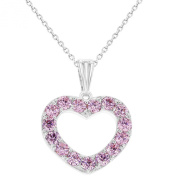 Rhodium Plated Love Heart Pink Pendant Crystal Necklace for Girls & Kids 41cm Chain