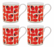 4 x Orla Kiely Acorn Cup Mugs - Tomato