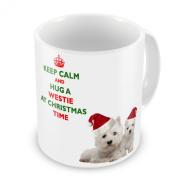 Keep Calm And Hug A Westie At Christmas / Xmas / Festive Novelty Gift Mug