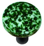 Hot Knobs HK8053-KRB Granite Light Metallic Green & White Round Glass Cabinet Knob - Black Post