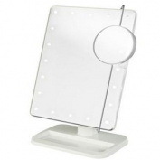 Jerdon Style JS811W LED Lighted Makeup Mirror White Includes 10X Adjustable Spot Mirror White