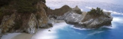 Panoramic Images PPI128046L Rocks on the beach McWay Falls Julia Pfeiffer Burns State Park Monterey County Big Sur California USA Poster Print by Panoramic Images - 36 x 12