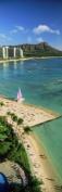 Panoramic Images PPI137160L Aerial view of a beach Diamond Head Waikiki Beach Oahu Honolulu Hawaii USA Poster Print by Panoramic Images - 12 x 36