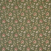 Designer Fabrics F907 140cm . Wide Green And Burgundy Floral Tapestry Upholstery Fabric