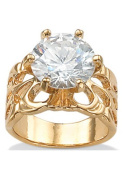 PalmBeach Jewellery 167728 6.00 TCW Round Cubic Zirconia 14k Yellow Gold-Plated Bridal Engagement Filigree Solitaire Ring Size 8