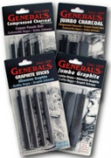 General Pencil 958BP Compressed Charcoal Set - White 4 Piece