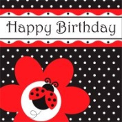 Creative Converting 669019 Ladybug Fancy - Lunch Napkins Happy Birthday - Case of 192