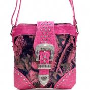 Ritz Enterprises MS103-PK Western Camouflage Rhinestone Belt Buckle Accent Crossbody Messenger Bag Purse - Pink