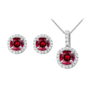 Fine Jewellery Vault UBUNERPD31481W14CZR600 July Birthstone Ruby with CZ Halo Earrings and Pendant in 14K White Gold