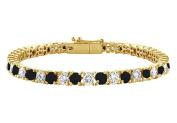 Fine Jewellery Vault UBBR14YRD131700DBD Black and White Diamond Tennis Bracelet with 7 CT Diamonds