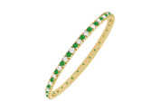Fine Jewellery Vault UBUGGAGVYRD131500CZE May Birthstone Emerald and Cubic Zirconia Bangle in 18K Yellow Gold Vermeil 5 CT TGW