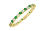 Fine Jewellery Vault UBUGGAGVYRD131600CZE May Birthstone Emerald and Cubic Zirconia Bangle in 18K Yellow Gold Vermeil 6 CT TGW