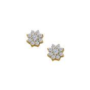 Fine Jewellery Vault UBNER40440Y14D April Birthstone Diamonds 9 Stone Cluster Earrings in 14K Yellow Gold