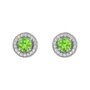 Fine Jewellery Vault UBNER40936AGCZPR600 August Birthstone Peridot and Cubic Zirconia Halo Stud Earrings in Sterling Silver 2.50 CT TGW