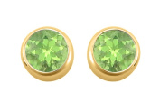 Fine Jewellery Vault UBERAGVY600PR August Birthstone Peridot Bezel Stud Earrings in 18K Yellow Gold Vermeil over 925 Silver