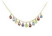 Fine Jewellery Vault UBNC519AGMC Multicolor Gemstone Necklace on 18K Yellow Gold Vermeil Sterling Silver 7 CT TGW