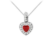 Fine Jewellery Vault UBUPD318W14CZR Created Ruby heart shape pendant with cubic zirconia in 14k white gold 1.50 carat total gem w