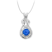 Fine Jewellery Vault UBUNPD32162AGS050 Knot Pendant in Sterling Silver with September Birthstone Created Sapphire 0.50 CT TGW