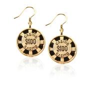Whimsical Gifts 116G-ER Casino Chip Charm Earrings in Gold