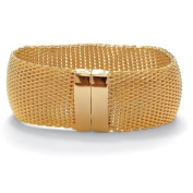 PalmBeach Jewellery 49694 Mesh Bangle Bracelet in Yellow Gold Tone 20cm .