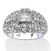 PalmBeach Jewellery 555186 1.75 TCW Emerald-Cut Cubic Zirconia Art Deco-Inspired Cocktail Ring in Platinum Over Sterling Silver - Size 6
