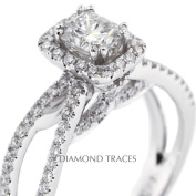 Diamond Traces D-L3723-1-KR6796_XD4x6-3754 1.41 Carat Total Natural Diamonds 18K White Gold 4-Prong Setting Split Shank Engagement Ring