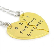 Sunkee BFF best fucking bitches Pendant Necklace 2 PC