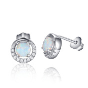 Acxico Round Shape 925 Sterling Silver with Natural Opal Stones Crystal Inlaid Stud Earrings