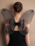 Black Fairy Angel Wings Girls Women Adults Mesh Silver Glitter Christmas Fancy Dress