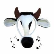 Bristol Novelty - Cow Face mask on Headband - Makes Sounds! Great for Book Week Christmas Hen/Stag Do Office Party Fancy Dress Costume Accessory