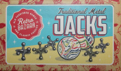 Traditional Metal Jacks Family Game With 2 Swirly Bouncy Balls Instructions And Cloth Carry Bag