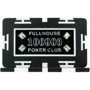 Full House Poker Club Plaques - Black 100000 (Pack of 5), 29g ABS Composite